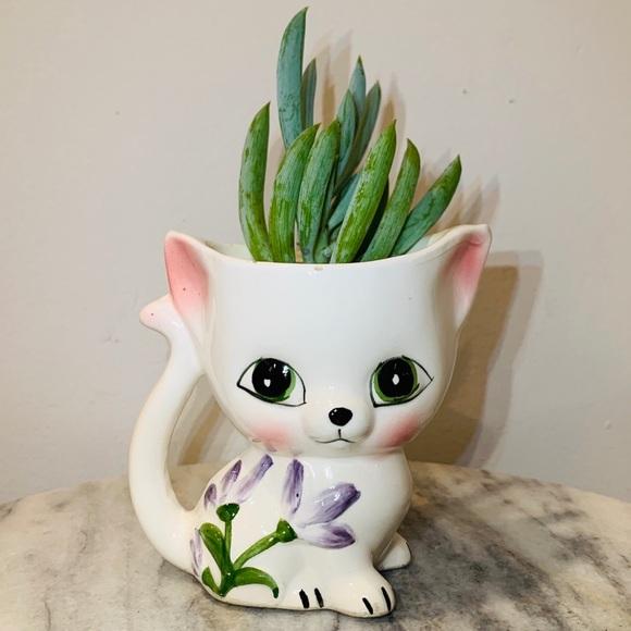 Other - Vintage Ceramic Kitty Cat Planter Vase